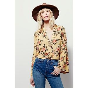 Free People Yellow Floral Bell Sleeve Blouse